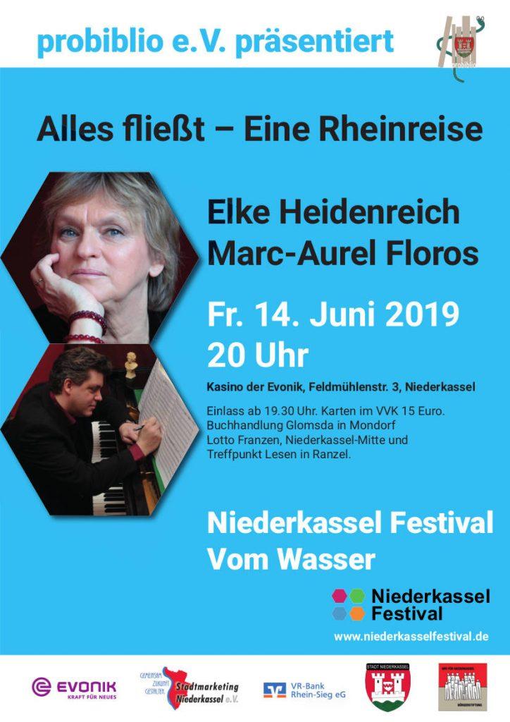 Veranstaltungsplakat Alles fließt - Eine Rheinreise Freitag 14. Juni 2019 20 Uhr Kasino der Evonik in Lülsdorf Eintritt 15 €