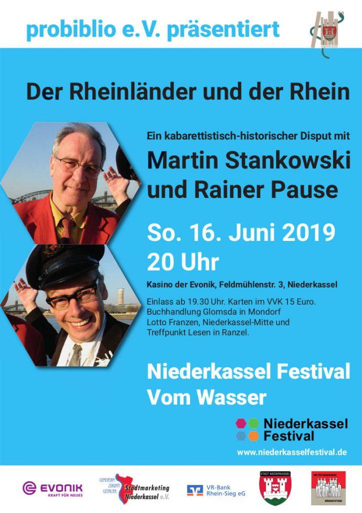 Veranstaltungsplakat Der Rheinländer und der Rhein Sonntag 16. Juni 2019 20 Uhr Kasino der Evonik in Lülsdorf Eintritt 15 €